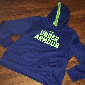 Youth XL Under Armour Blue Neon Green Hoodie
